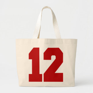 Red Jersey Number 12 Large Tote Bag