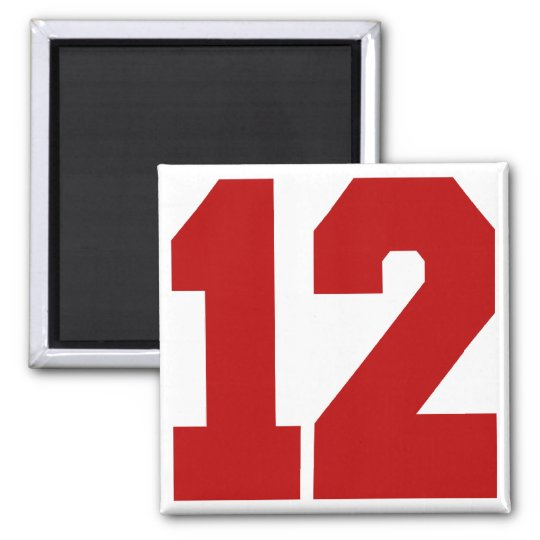 Red Jersey Number 12 Magnet