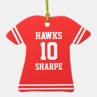 Red Jersey With White Text Keepsake Ornament