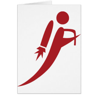 Red Jet Pack Silhouette Icon Card