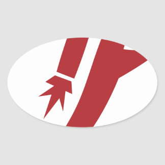 Red Jet Pack Silhouette Icon Oval Sticker