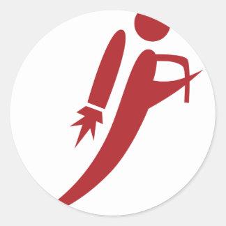 Red Jet Pack Silhouette Icon Round Sticker