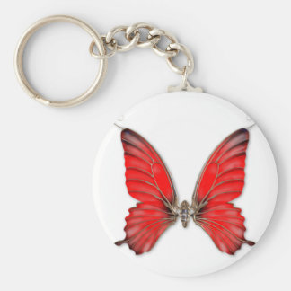 Red Jewelled Butterfly Keyring Basic Round Button Keychain