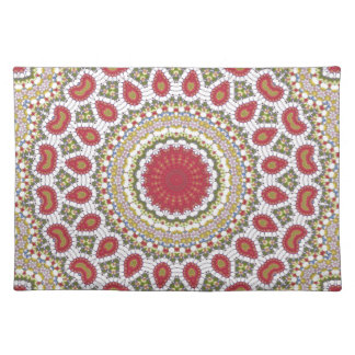 Red Jewels Mosaic Geometric Design Placemat