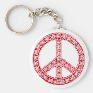Red Jewels Peace Sign Basic Round Button Keychain