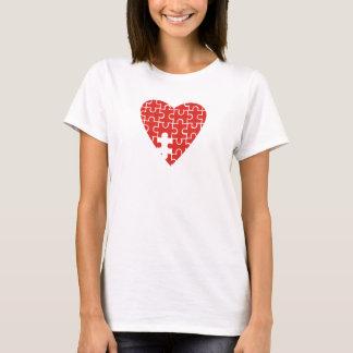 Red Jigsaw Heart Missing Piece T-Shirt