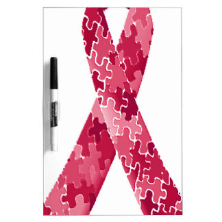 Red Jigsaw Puzzle Pattern Ribbon Dry-Erase Board