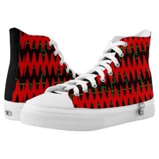 Red jigsaw Sine Waves High-Top Sneakers
