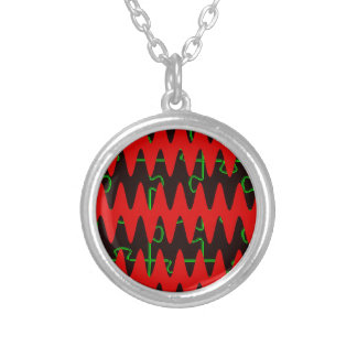 Red jigsaw Sine Waves Round Pendant Necklace