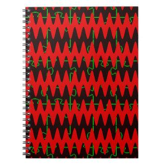 Red jigsaw Sine Waves Spiral Notebook