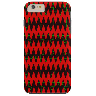 Red jigsaw Sine Waves Tough iPhone 6 Plus Case