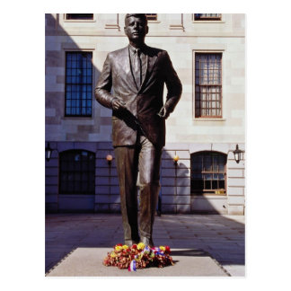 Red John F Kennedy statue flowers Post Card