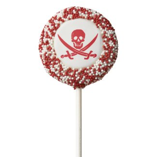 Red Jolly Roger Pirate Oreo Cookie Pop