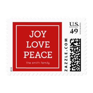 Red Joy Love Peace Modern Minimalist Holiday Postage