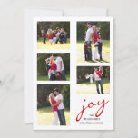 """Red joy, photo collage Christmas holiday<br><div class=""""desc"""">Modern red joy,  snowflakes photo collage Christmas card. The back includes a pattern with red and white snowflakes. Photography © Storytree Studios,  Stanford,  CA</div>"""