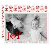 "Red ""JOY"", snowflake Christmas holiday flat photo Card"