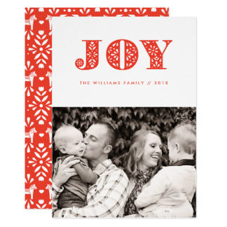 Red Joy Swedish Dala Horse Photo Holiday Card