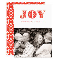 Red Joy Swedish Dala Horse Photo Holiday Card