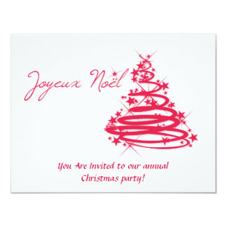 Red Joyeux Noël with Christmas Tree 4.25x5.5 Paper Invitation Card