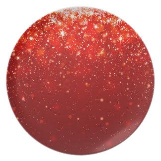 red joyous shining pattern dinner plate