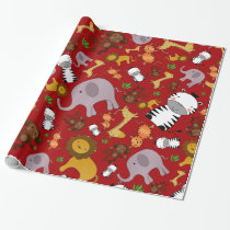 Red jungle safari animals wrapping paper