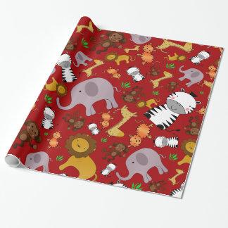 Red jungle safari animals wrapping paper