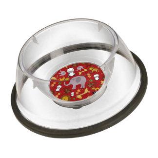 Red jungle safari animals pet bowl