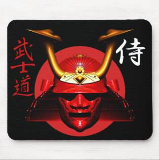 Red kabuto (Samurai helmet) Mouse Pad