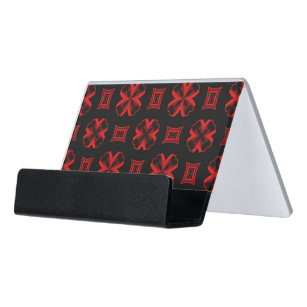 red kaleidoscope x and square desk business card holder - Square Business Card Holder