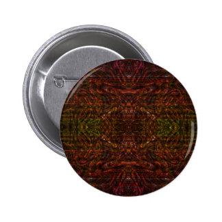 Red kaleidoscopic fractal pinback button