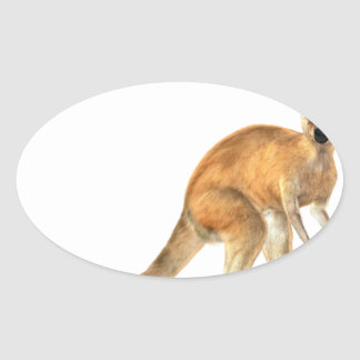 Red Kangaroo In Side View Oval Sticker