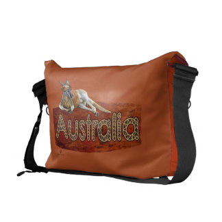 Red Kangaroo In Slouch Hat Courier Bag
