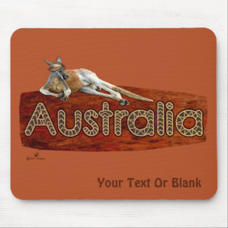 Red Kangaroo In Slouch Hat Mouse Pad