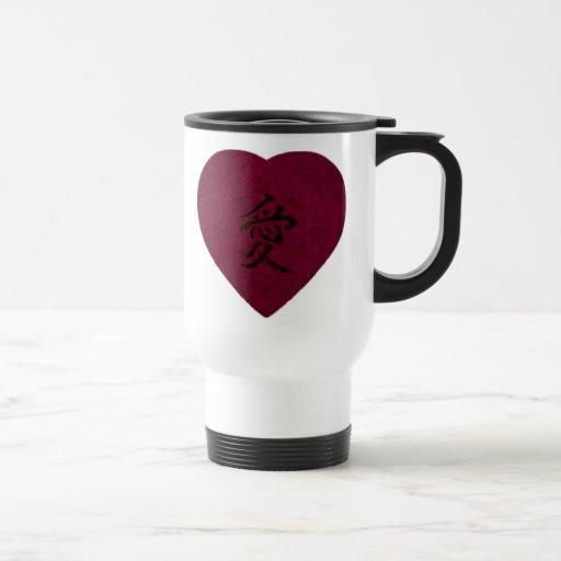 Red Kanji Love Washi Heart Coffee Mugs
