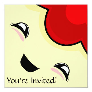 """Red Kawaii Tickle Monster 5.25"""" Square Invitation Card"""
