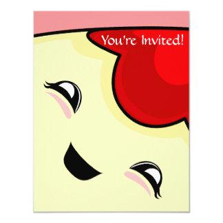 "Red Kawaii Tickle Monster 4.25"" X 5.5"" Invitation Card"