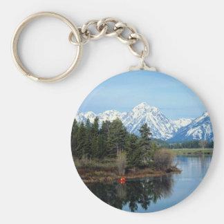 Red Kayak, Grand Teton National Park, USA Basic Round Button Keychain