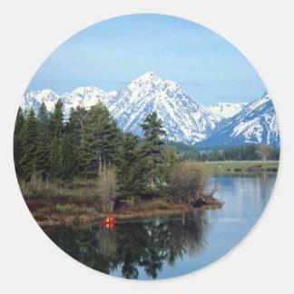 Red Kayak, Grand Teton National Park, USA Classic Round Sticker