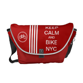 Red KEEP CALM AND BIKE NYC Monogram Racing Stripe Courier Bag