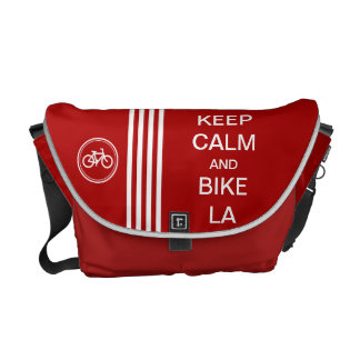 Red KEEP CALM AND BIKE SF Monogram Racing Stripe Courier Bag
