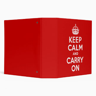 Red Keep Calm and Carry On Vinyl Binder