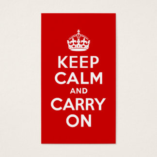 Red Keep Calm and Carry On Business Card