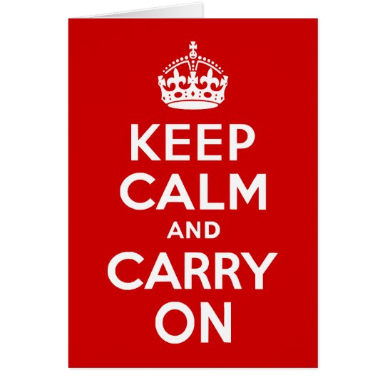 Red Keep Calm and Carry On Card