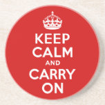 Red Keep Calm and Carry On Coaster