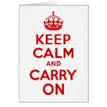 Red Keep Calm and Carry On Greeting Card