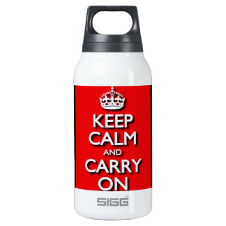 Red Keep Calm And Carry On Insulated Water Bottle