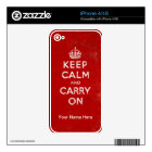 Red Keep Calm and Carry On iPhone 4/4S Skin