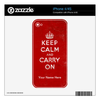 Red Keep Calm and Carry On iPhone 4/4S Skin Skins For The iPhone 4