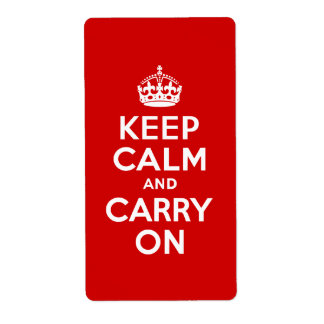 Red Keep Calm and Carry On Personalized Shipping Label