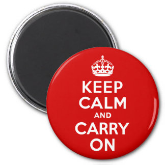 Red Keep Calm and Carry On Fridge Magnets